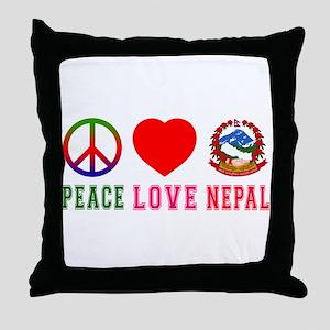 Peace Love Nepal Throw Pillow