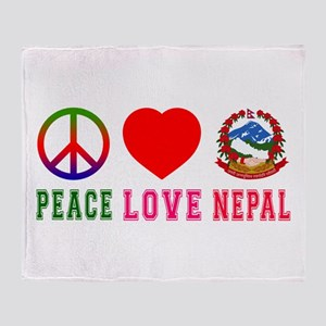 Peace Love Nepal Throw Blanket