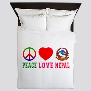 Peace Love Nepal Queen Duvet