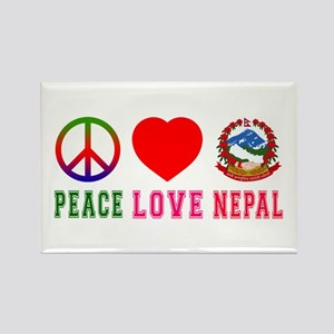 Peace Love Nepal Rectangle Magnet