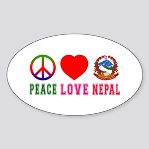 Peace Love Nepal Sticker (Oval)