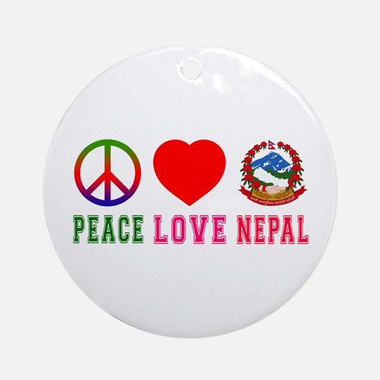 Peace Love Nepal Ornament (Round)