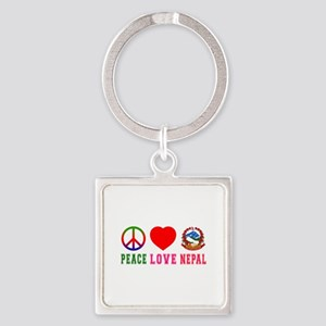 Peace Love Nepal Square Keychain