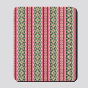 Pink and Green Aztec Pattern Mousepad