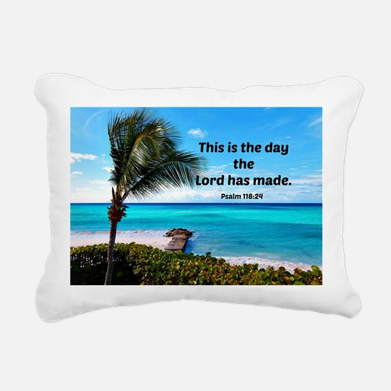Psalm 118:24, This is th Rectangular Canvas Pillow