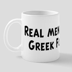 Men eat Greek Food Mug