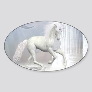 White Unicorn 2 Sticker (Oval)