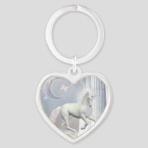 White Unicorn 2 Heart Keychain