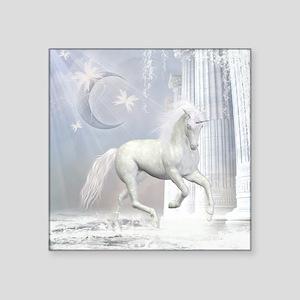 "White Unicorn 2 Square Sticker 3"" x 3"""