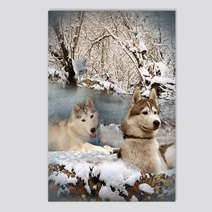 Siberian Husky Snow Scene Postcards (Package of 8)