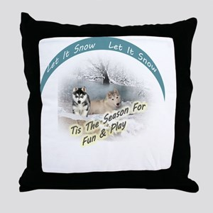 Let It Snow Huskies Throw Pillow