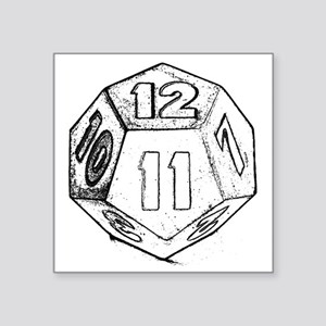"12 sided die dark Square Sticker 3"" x 3"""