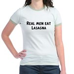 Men eat Lasagna Jr. Ringer T-Shirt