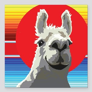 "Silly Llama by Anne Alde Square Car Magnet 3"" x 3"""