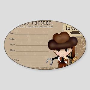 Cowboy Birthday Party Invitations Sticker (Oval)