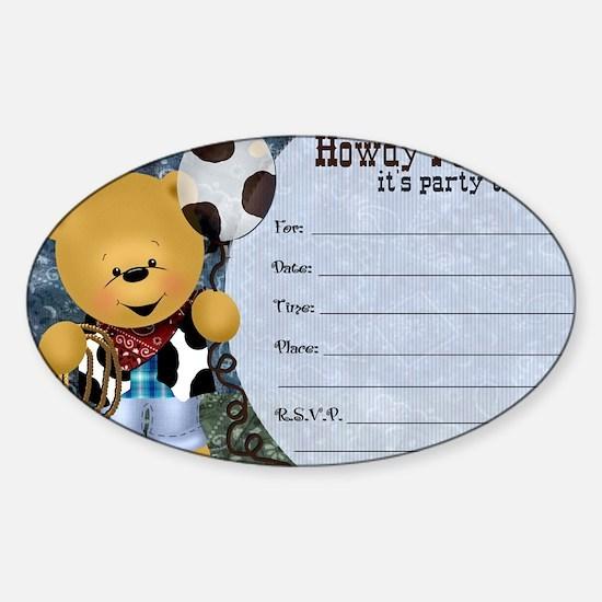 Cowboy Teddy Bearl Birthday Party I Sticker (Oval)