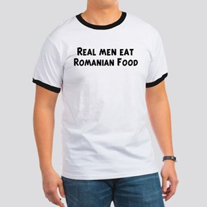 Men eat Romanian Food Ringer T