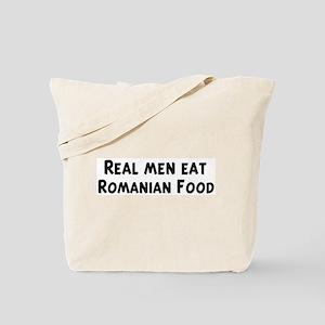 Men eat Romanian Food Tote Bag