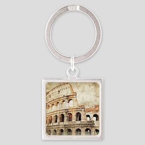 Vintage Roman Coloseum Square Keychain