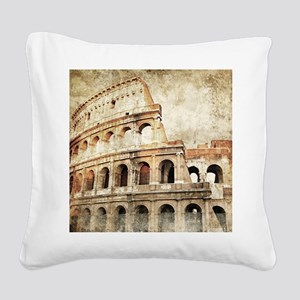 Vintage Roman Coloseum Square Canvas Pillow