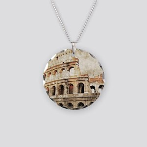 Vintage Roman Coloseum Necklace Circle Charm