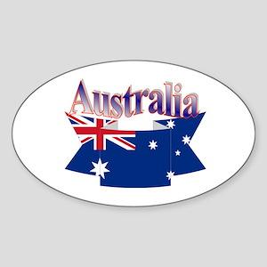 Aussie flag ribbon Oval Sticker