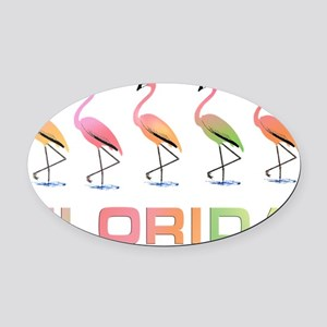 March of the Pastel Tropical Flami Oval Car Magnet