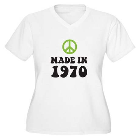 Made In 1970 Peace Symbol Women's Plus Size V-Neck
