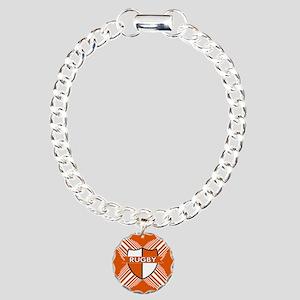 Rugby Crest Orange White Stripe Charm Bracelet, On