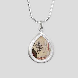 Speedway Silver Teardrop Necklace