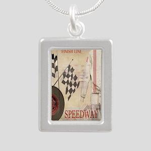 Speedway Silver Portrait Necklace