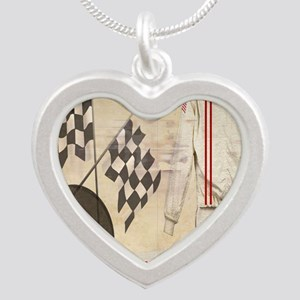 Speedway Silver Heart Necklace