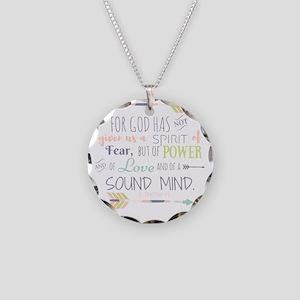 2 Timothy 1:7 Bible Verse Necklace Circle Charm
