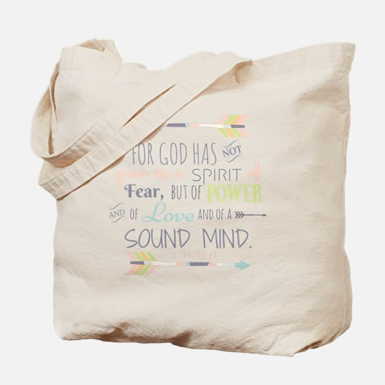2 Timothy 1:7 Bible Verse Tote Bag