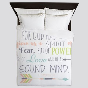 2 Timothy 1:7 Bible Verse Queen Duvet