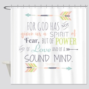 2 Timothy 1:7 Bible Verse Shower Curtain
