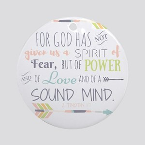 2 Timothy 1:7 Bible Verse Round Ornament