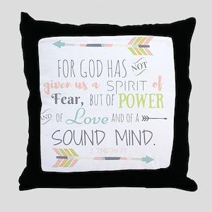 2 Timothy 1:7 Bible Verse Throw Pillow