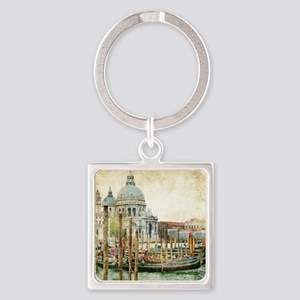 Vintage Venice Photo Square Keychain