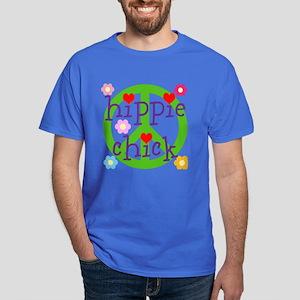 HIPPY CHICK - PEACE LOVE HEARTS FLOWE Dark T-Shirt