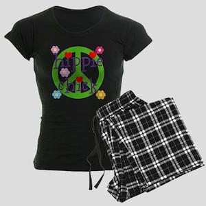 PEACE LOVE HEARTS FLOWERS Women's Dark Pajamas
