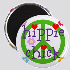 HIPPY CHICK - PEACE LOVE HEARTS FLOWERS Magnet