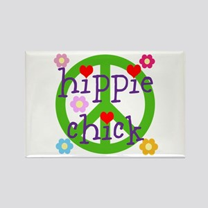HIPPY CHICK - PEACE LOVE HEARTS F Rectangle Magnet