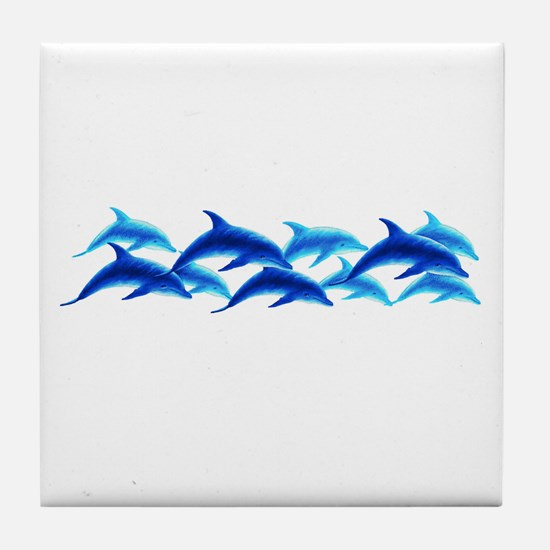 dancing dolphins Tile Coaster