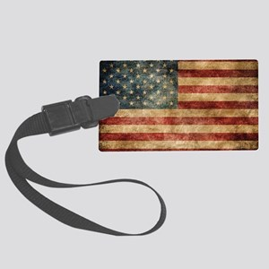 American flag grunge Large Luggage Tag
