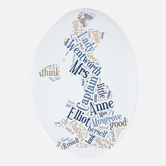 Persuasion Word Cloud Oval Ornament