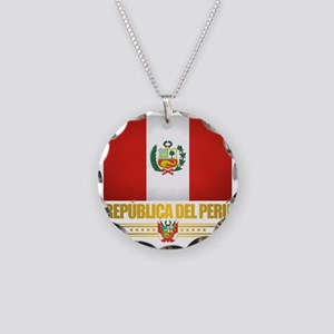 Flag of Peru Necklace Circle Charm