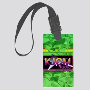 KJEM Radio EQ Green Logo playing Large Luggage Tag