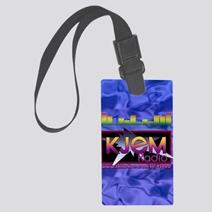 KJEM Radio EQ Blue Logo playing  Large Luggage Tag
