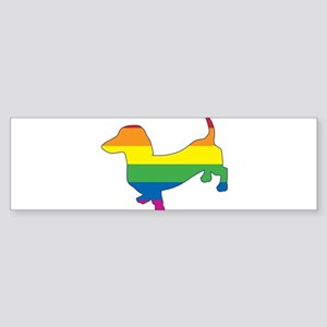 Gay-Pride-Doxie-W-Outline Bumper Sticker